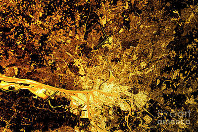 Hamburg Digital Art - Hamburg Abstract City Map Golden by Frank Ramspott
