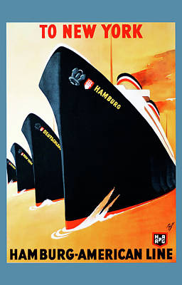 Hamburg Digital Art - Hamburg - American Line - Poster by Sir Josef - Social Critic -  Maha Art