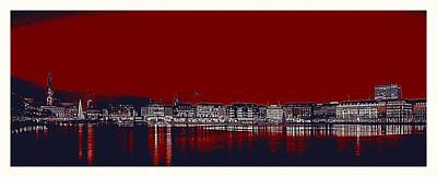 Park Scene Painting - Hamburg Binnenalster Jungfernstieg Red Hour by Celestial Images