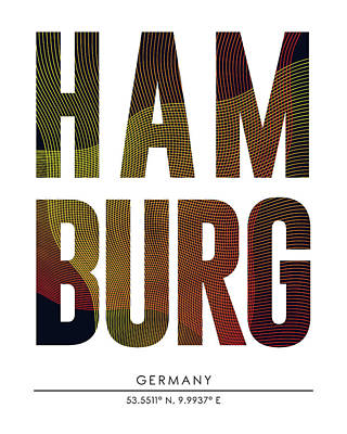 Mixed Media - Hamburg, Germany - City Name Typography - Minimalist City Posters by Studio Grafiikka