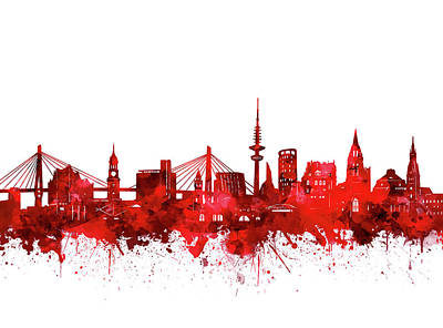 Digital Art - Hamburg City Skyline Red by Bekim Art
