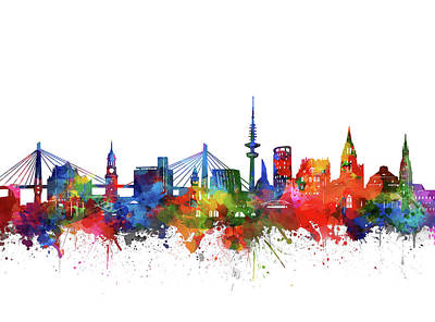 Digital Art - Hamburg City Skyline Watercolor 2 by Bekim Art
