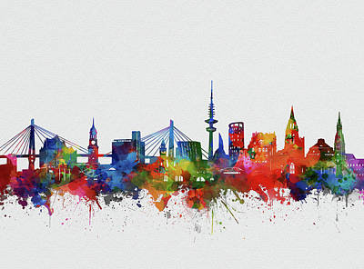 Digital Art - Hamburg City Skyline Watercolor by Bekim Art