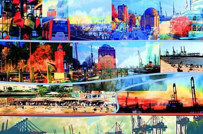 Mixed Media - Hamburg Elbe by Peter Norden