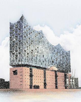 Hamburg Drawing - Hamburg Elbphilharmonie Horizon Type by Ingo Krasenbrink