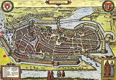 Hamburg Drawing - Hamburg Germany 1600 by Mountain Dreams