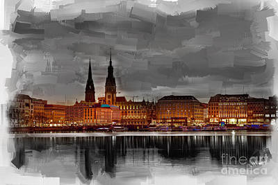 Hamburg Germany Skyline 01 Art Print by Gull G