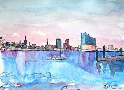 Hamburg Harbour Skyline And Elbe Philharmonic Hall Original