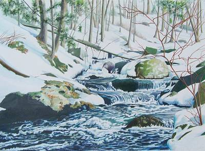 Art Print featuring the mixed media Hamburg Mountain Stream by Constance Drescher