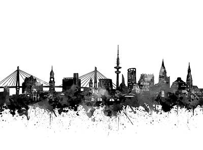 Digital Art - Hamburg Skyline Black And White by Bekim Art