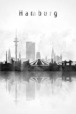 Hamburg Digital Art - Hamburg Skyline Black And White by Dim Dom
