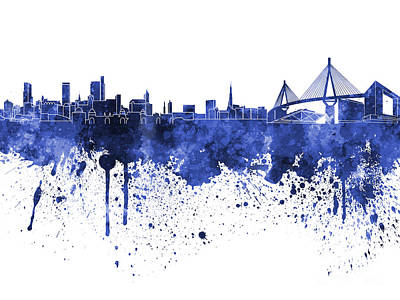 Hamburg Skyline In Blue Watercolor On White Background Art Print by Pablo Romero