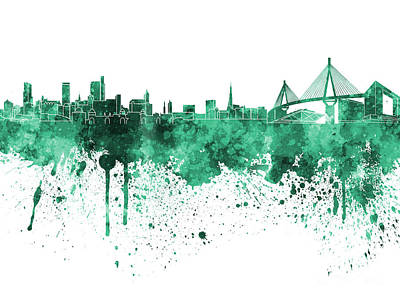 Hamburg Skyline In Green Watercolor On White Background Art Print by Pablo Romero