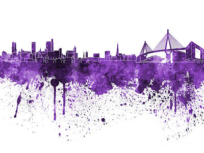 Hamburg Skyline In Purple Watercolor On White Background Art Print by Pablo Romero