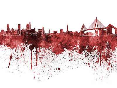 Hamburg Skyline In Red Watercolor On White Background Art Print by Pablo Romero