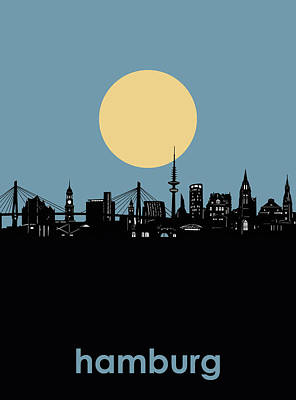 Digital Art - Hamburg Skyline Minimalism by Bekim Art