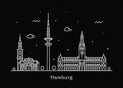 Abstract Landscape Drawing - Hamburg Skyline Travel Poster by Inspirowl Design