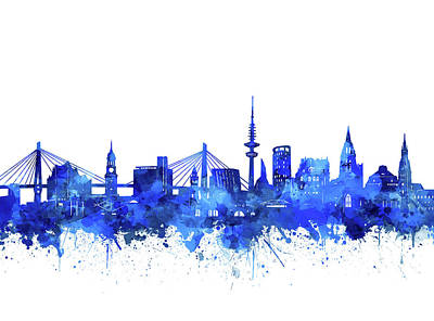 Abstract Skyline Royalty-Free and Rights-Managed Images - Hamburg Skyline Watercolor Blue by Bekim M