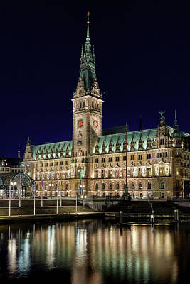 Photograph - Hamburg Town Hall At Night by Marc Huebner