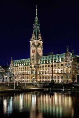 Photograph - Hamburg Town Hall At Night by Marc Huebner