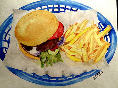 Painting - Hamburger Basket #2 by Carol Grimes