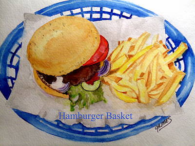 Painting - Hamburger Basket by Carol Grimes