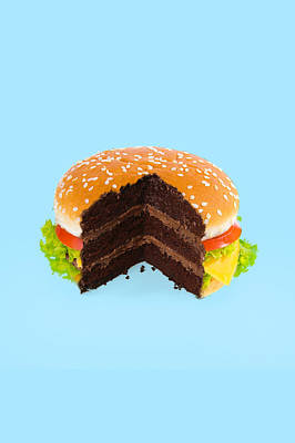 Salade Digital Art - Hamburger Cake by Paul Fuentes