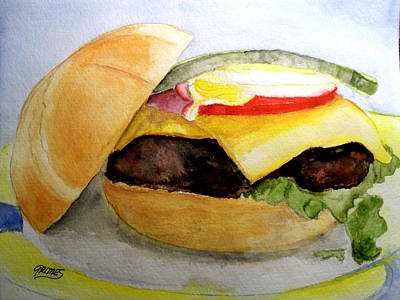 Painting - Hamburger On Kasier Roll by Carol Grimes