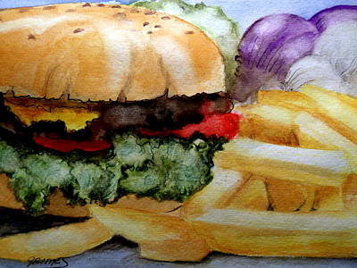 Painting - Hamburger  With Fries by Carol Grimes