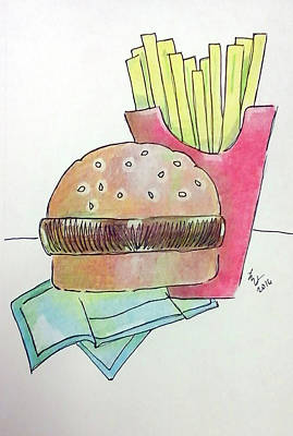 Drawing - Hamburger With Fries by Loretta Nash