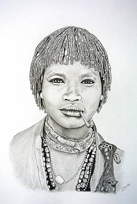 Tribal Women Drawing - Hamer Woman by Gregory Hayes