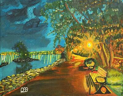 Night Lamp Painting - Hamilton Bayfront At Night by David Bigelow