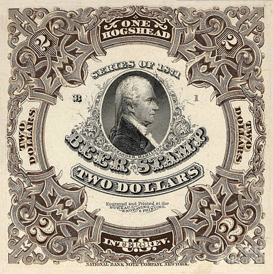 Hamilton Beer Revenue Stamp  Hogshead  Art Print by Jon Neidert