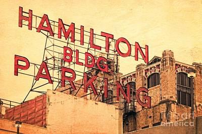 Hamilton Bldg Parking Sign Art Print