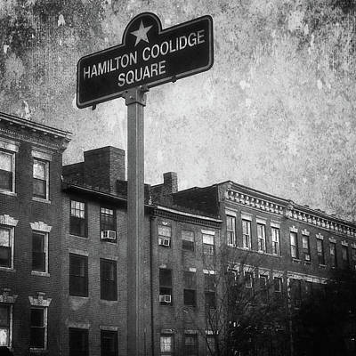 Photograph - Hamilton Coolidge Square Beacon Hill Boston Urban Black And White Street Scene by Joann Vitali