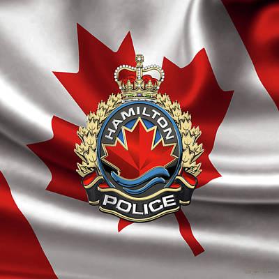 Hamilton Police Service  -  H P S  Emblem Over Canadian Flag Original