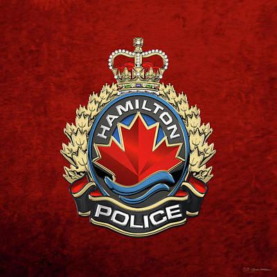 Digital Art - Hamilton Police Service  -  H P S  Emblem Over Red Velvet by Serge Averbukh