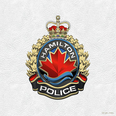 Digital Art - Hamilton Police Service  -  H P S  Emblem Over White Leather by Serge Averbukh