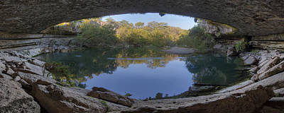 Hamilton Pool Photograph - Hamilton Pool Morning Panorama 1 by Rob Greebon