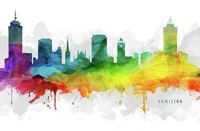 Ontario Digital Art - Hamilton Skyline Mmr-caonha05 by Aged Pixel