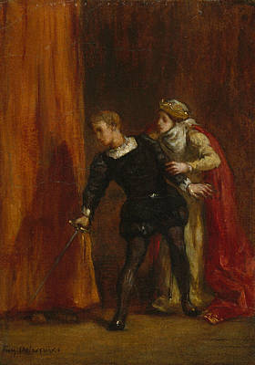 Painting - Hamlet And His Mother by Eugene Delacroix