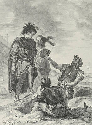 Relief - Hamlet And Horatio Before The Gravediggers by Eugene Delacroix