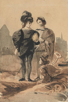 Drawing - Hamlet And Horatio In The Graveyard by Eugene Delacroix