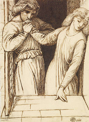 Drawing - Hamlet And Ophelia - Compositional Study by Dante Gabriel Rossetti