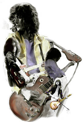 Jimmy Page Painting - Hammer Of The Gods   Jimmy Page by Iconic Images Art Gallery David Pucciarelli