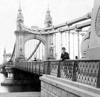 Hammersmith Bridge In London - England - C 1896 Art Print