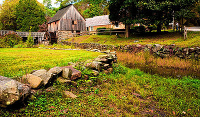 Grist Mill Painting - Hammond Gristmill Rhode Island - Colored Version by Lourry Legarde