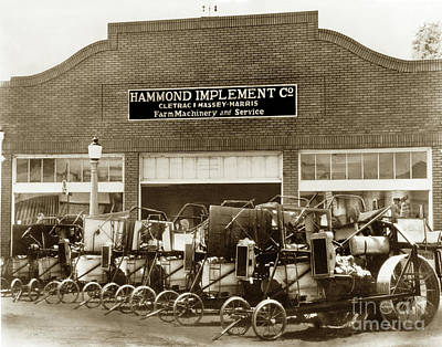 Photograph - Hammond Implement Company Farm Machinery 1924 by California Views Mr Pat Hathaway Archives