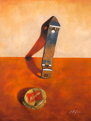Bottle Cap Painting - Hamm's Beer Churchkey by Karl Melton