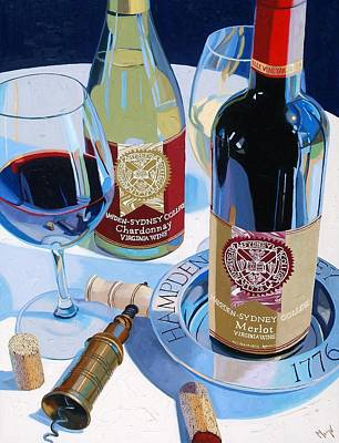 Wine Bottle Painting - Hampden Sydney Red And White Number One by Christopher Mize
